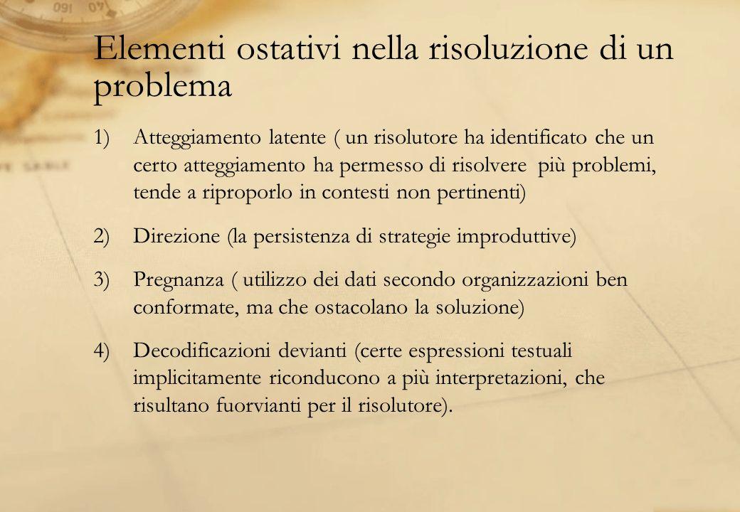 Elementi ostativi nella risoluzione di un problema 1)Atteggiamento latente ( un risolutore ha identificato che un certo atteggiamento ha permesso di r