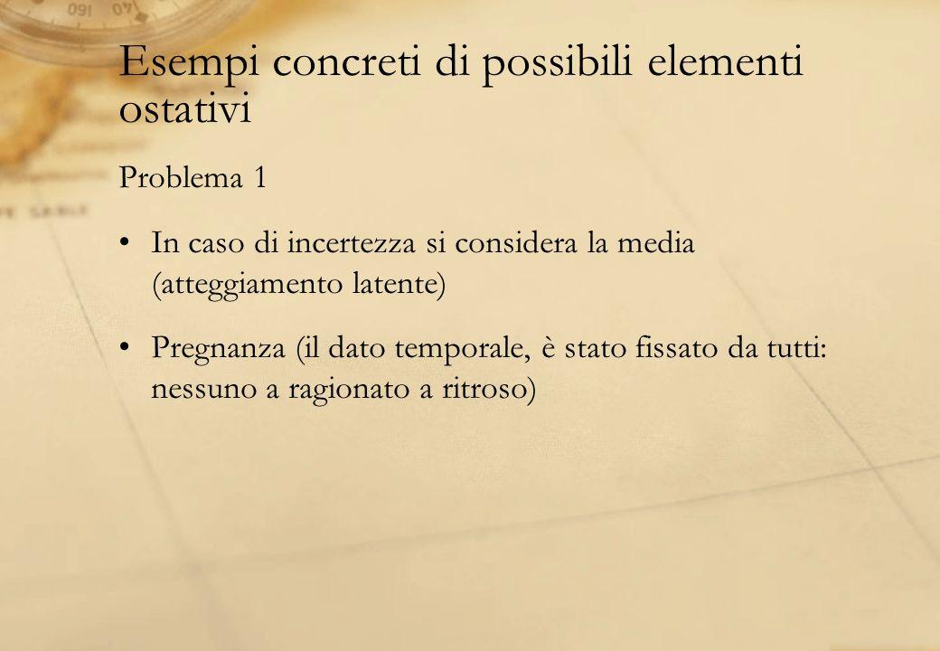 Esempi concreti di possibili elementi ostativi Problema 1 In caso di incertezza si considera la media (atteggiamento latente) Pregnanza (il dato tempo