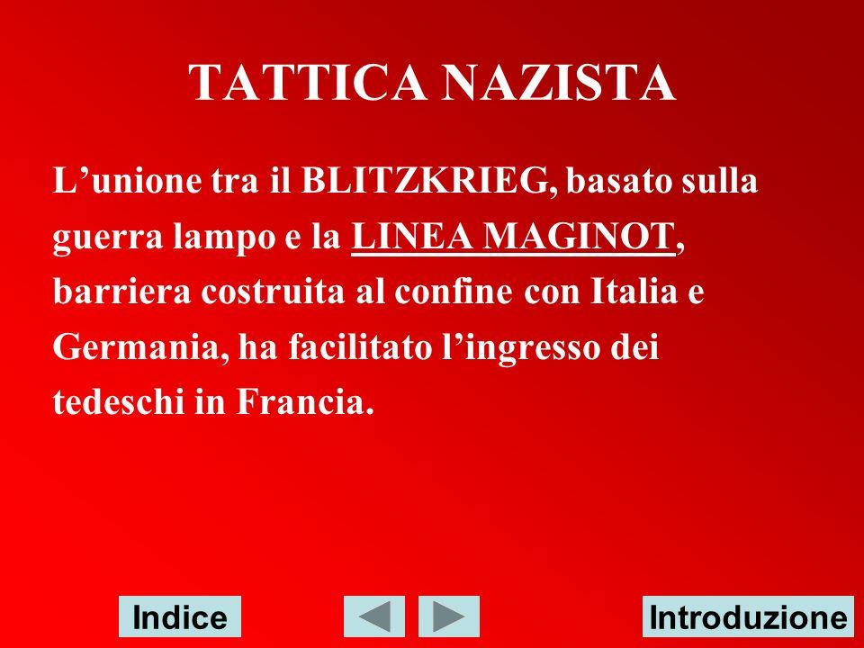 TATTICA NAZISTA Lunione tra il BLITZKRIEG, basato sulla guerra lampo e la LINEA MAGINOT,LINEA MAGINOT barriera costruita al confine con Italia e Germa