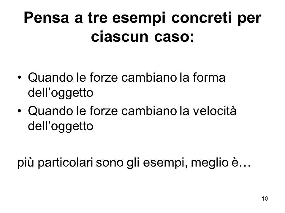 10 Pensa a tre esempi concreti per ciascun caso: Quando le forze cambiano la forma delloggetto Quando le forze cambiano la velocità delloggetto più pa