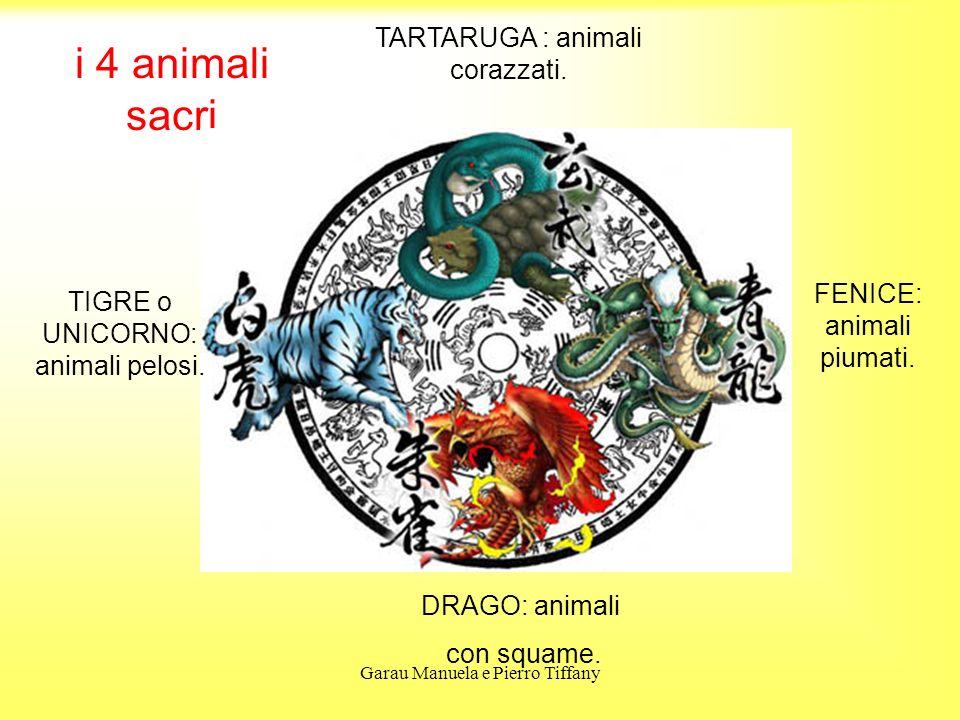 Garau Manuela e Pierro Tiffany i 4 animali sacri DRAGO: animali con squame. TIGRE o UNICORNO: animali pelosi. TARTARUGA : animali corazzati. FENICE: a