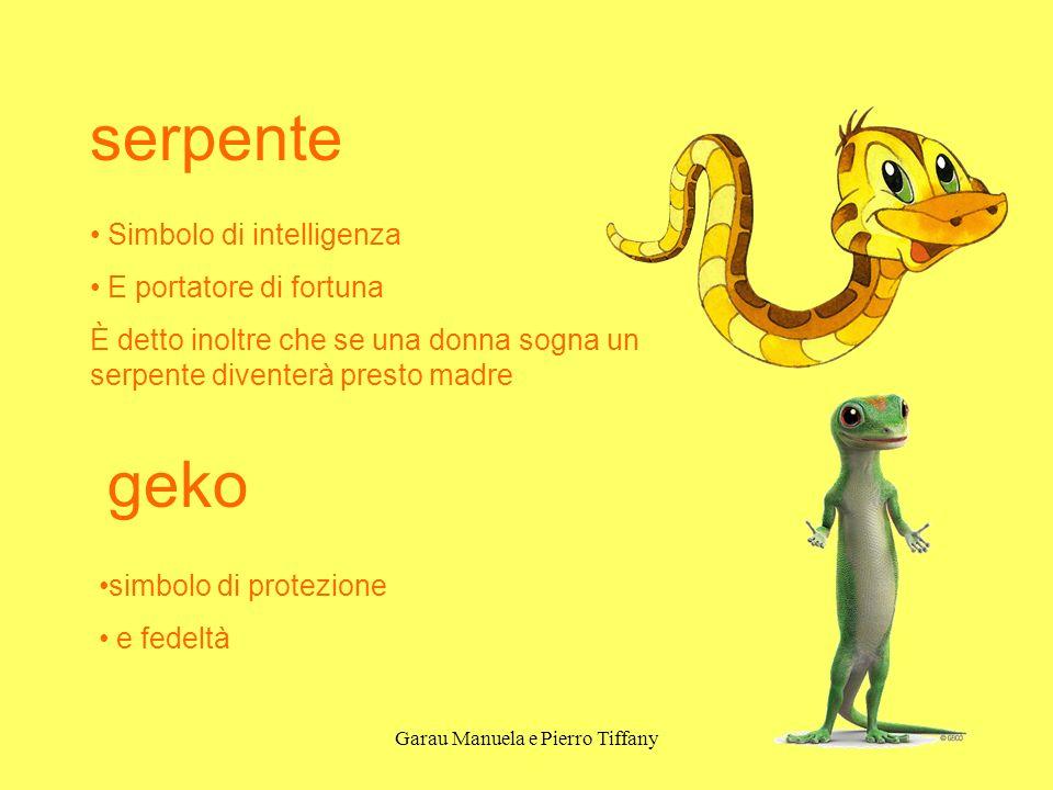 Garau Manuela e Pierro Tiffany serpente Simbolo di intelligenza E portatore di fortuna È detto inoltre che se una donna sogna un serpente diventerà pr