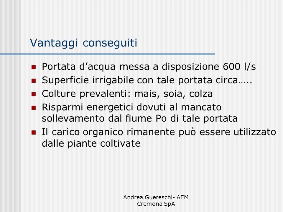 Andrea Guereschi- AEM Cremona SpA Vantaggi conseguiti Portata dacqua messa a disposizione 600 l/s Superficie irrigabile con tale portata circa….. Colt