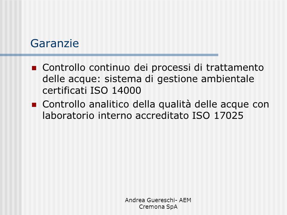 Andrea Guereschi- AEM Cremona SpA Garanzie Controllo continuo dei processi di trattamento delle acque: sistema di gestione ambientale certificati ISO