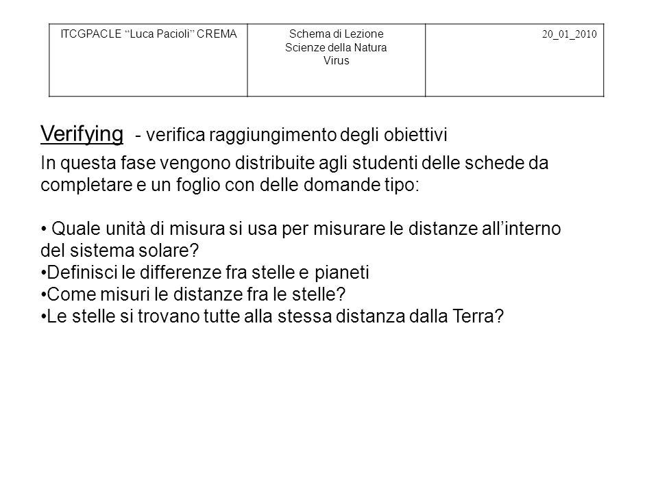 ITCGPACLE Luca Pacioli CREMASchema di Lezione Scienze della Natura Virus 20_01_2010 In questa fase vengono distribuite agli studenti delle schede da c