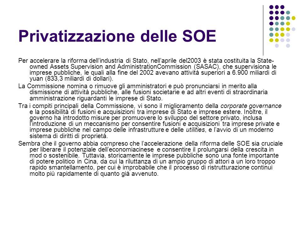 Privatizzazione delle SOE Per accelerare la riforma dellindustria di Stato, nellaprile del2003 è stata costituita la State- owned Assets Supervision a