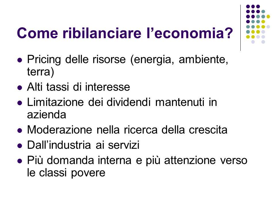 Come ribilanciare leconomia? Pricing delle risorse (energia, ambiente, terra) Alti tassi di interesse Limitazione dei dividendi mantenuti in azienda M