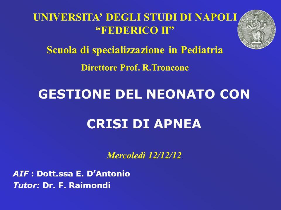 UNIVERSITA DEGLI STUDI DI NAPOLI FEDERICO II Scuola di specializzazione in Pediatria Direttore Prof. R.Troncone GESTIONE DEL NEONATO CON CRISI DI APNE