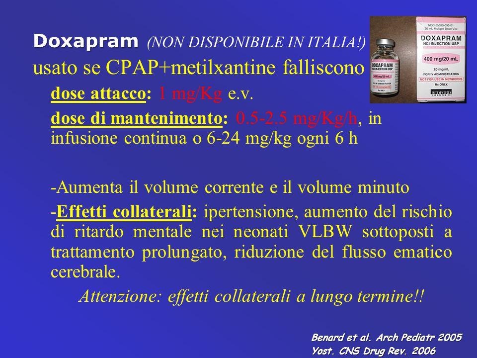Doxapram Doxapram (NON DISPONIBILE IN ITALIA!) usato se CPAP+metilxantine falliscono dose attacco: 1 mg/Kg e.v. dose di mantenimento: 0.5-2.5 mg/Kg/h,