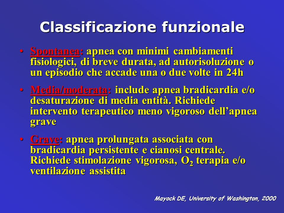Classificazione funzionale Spontanea: apnea con minimi cambiamenti fisiologici, di breve durata, ad autorisoluzione o un episodio che accade una o due