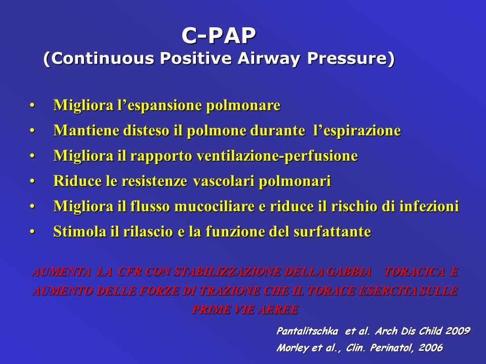 C-PAP (Continuous Positive Airway Pressure) Migliora lespansione polmonareMigliora lespansione polmonare Mantiene disteso il polmone durante lespirazi