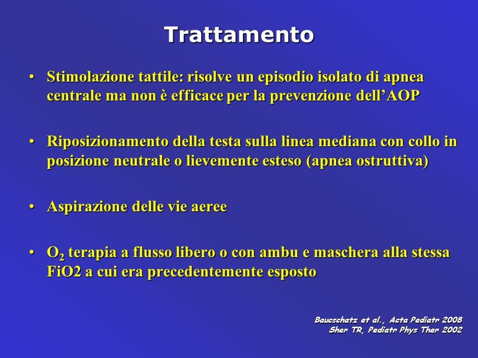 Trattamento Stimolazione tattile: risolve un episodio isolato di apnea centrale ma non è efficace per la prevenzione dellAOPStimolazione tattile: riso