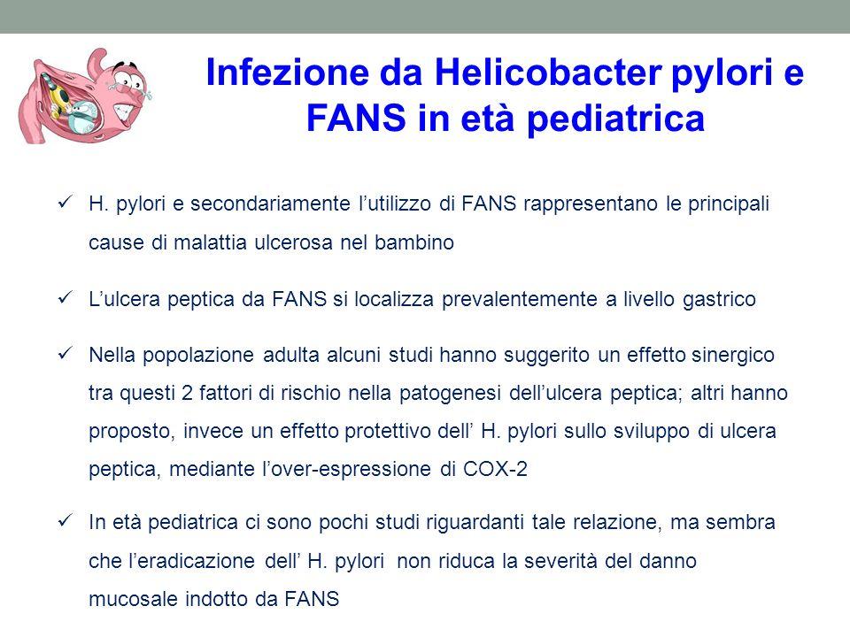 Infezione da Helicobacter pylori e FANS in età pediatrica H. pylori e secondariamente lutilizzo di FANS rappresentano le principali cause di malattia