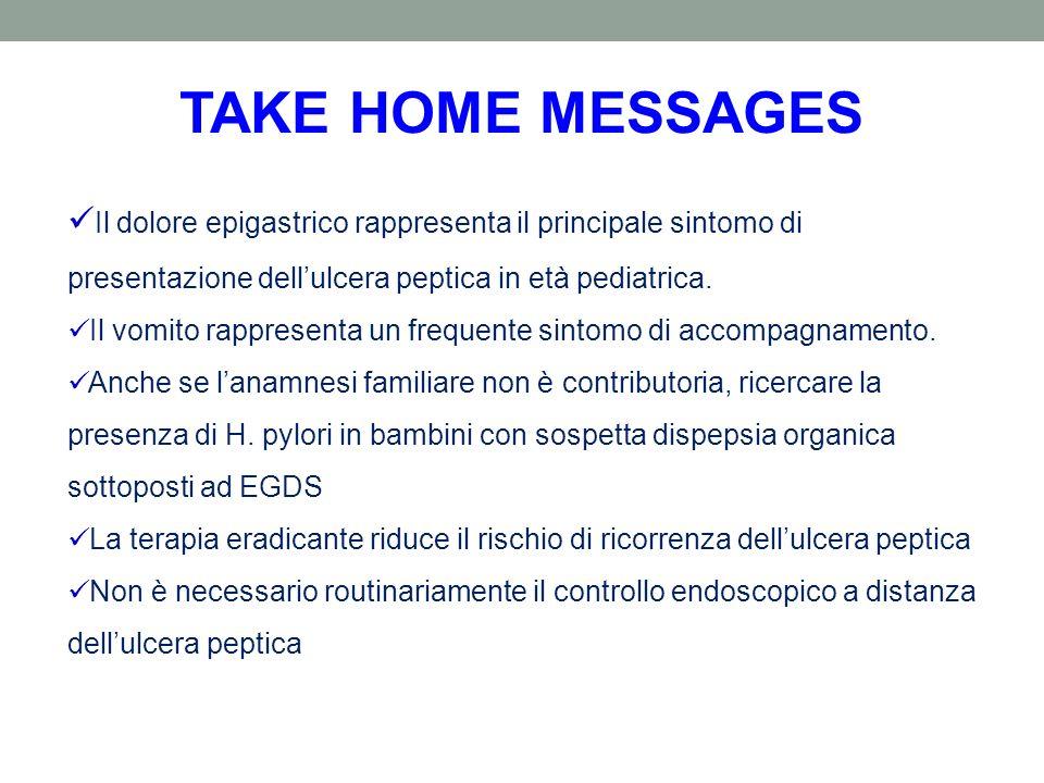TAKE HOME MESSAGES Il dolore epigastrico rappresenta il principale sintomo di presentazione dellulcera peptica in età pediatrica. Il vomito rappresent