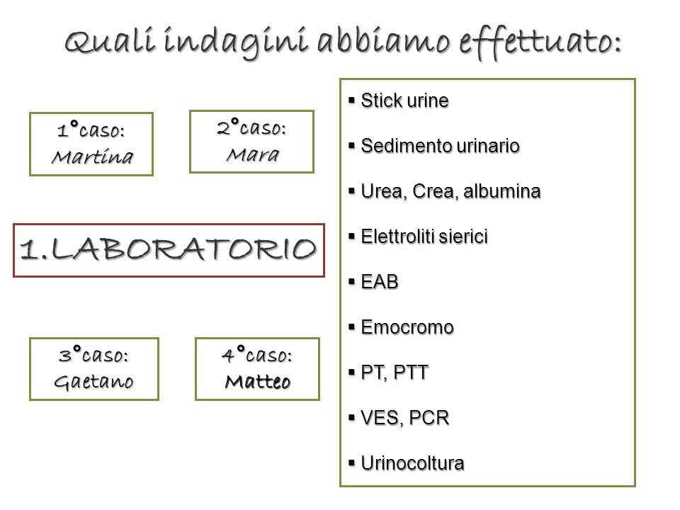 1.LABORATORIO Stick urine Stick urine Sedimento urinario Sedimento urinario Urea, Crea, albumina Urea, Crea, albumina Elettroliti sierici Elettroliti