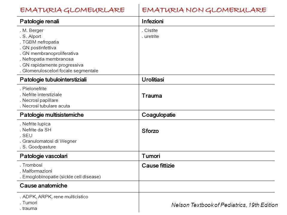 EMATURIA GLOMEURLARE EMATURIA NON GLOMERULARE Patologie renaliInfezioni. M. Berger. S. Alport. TGBM nefropatia. GN postinfettiva. GN membranoprolifera