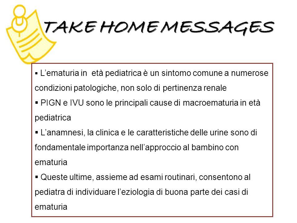 TAKE HOME MESSAGES Lematuria in età pediatrica è un sintomo comune a numerose condizioni patologiche, non solo di pertinenza renale PIGN e IVU sono le principali cause di macroematuria in età pediatrica Lanamnesi, la clinica e le caratteristiche delle urine sono di fondamentale importanza nellapproccio al bambino con ematuria Queste ultime, assieme ad esami routinari, consentono al pediatra di individuare leziologia di buona parte dei casi di ematuria