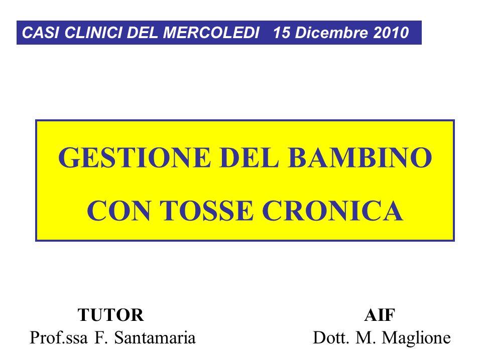 GESTIONE DEL BAMBINO CON TOSSE CRONICA CASI CLINICI DEL MERCOLEDI 15 Dicembre 2010 TUTOR Prof.ssa F.