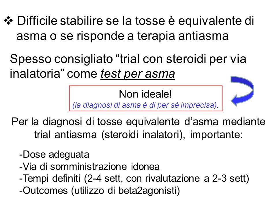 Difficile stabilire se la tosse è equivalente di asma o se risponde a terapia antiasma Spesso consigliato trial con steroidi per via inalatoria come test per asma Non ideale.