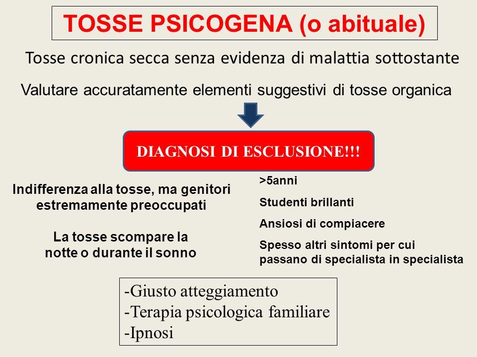 TOSSE PSICOGENA (o abituale) Valutare accuratamente elementi suggestivi di tosse organica Tosse cronica secca senza evidenza di malattia sottostante DIAGNOSI DI ESCLUSIONE!!.
