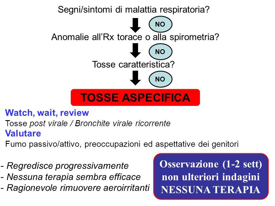 Segni/sintomi di malattia respiratoria.Anomalie allRx torace o alla spirometria.