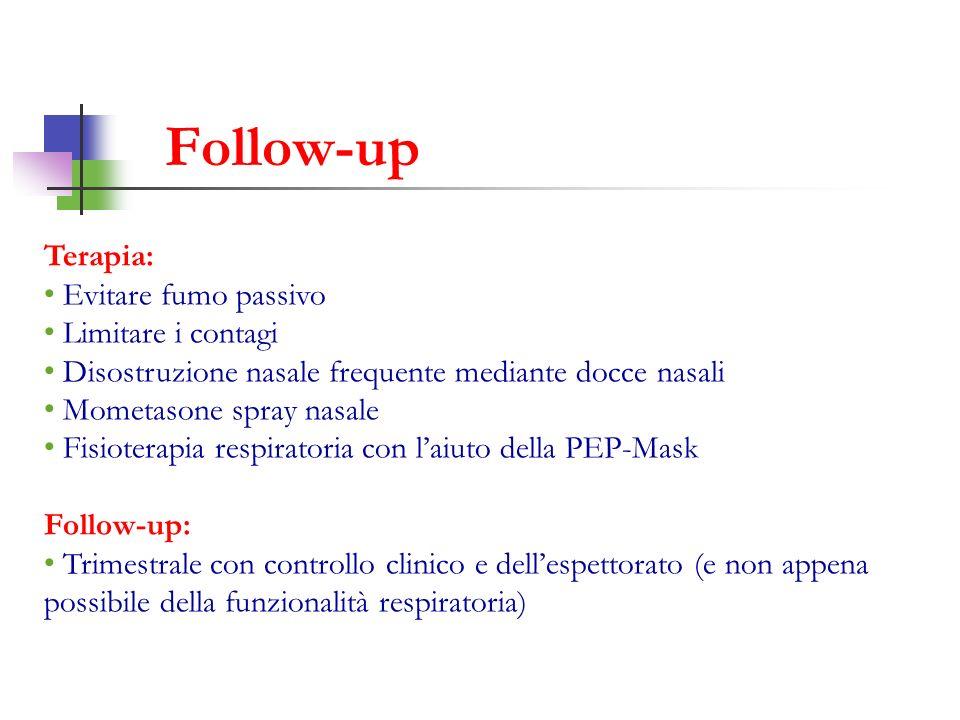Terapia: Evitare fumo passivo Limitare i contagi Disostruzione nasale frequente mediante docce nasali Mometasone spray nasale Fisioterapia respiratori