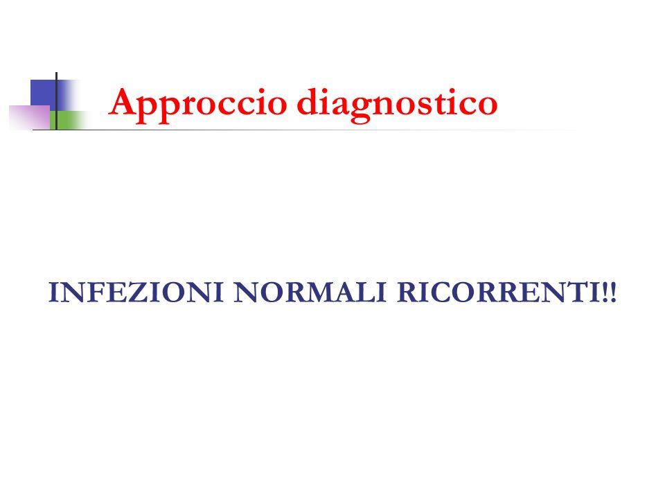 Emocromo: leucocitosi neutrofila (GB:22080/mcL; Neu:86.4%) Indici infiammatori aumentati: (PCR: 10.6 vn 0.0-0.8; procalcitonina: 0.35 vn <0.09) IgM anti Mycoplasma: negative PRIST: nella norma Skin Prick test per aereoallergeni: negativi Intradermoreazione di Mantoux: negativa Test del sudore: negativo Ig totali, sottopopolazioni linfocitarie, sottoclassi delle IgG: nella norma Indagini di I livello