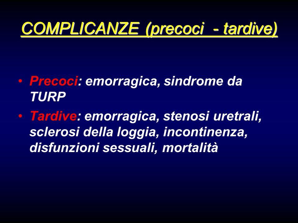 COMPLICANZE (precoci - tardive) Precoci: emorragica, sindrome da TURP Tardive: emorragica, stenosi uretrali, sclerosi della loggia, incontinenza, disfunzioni sessuali, mortalità