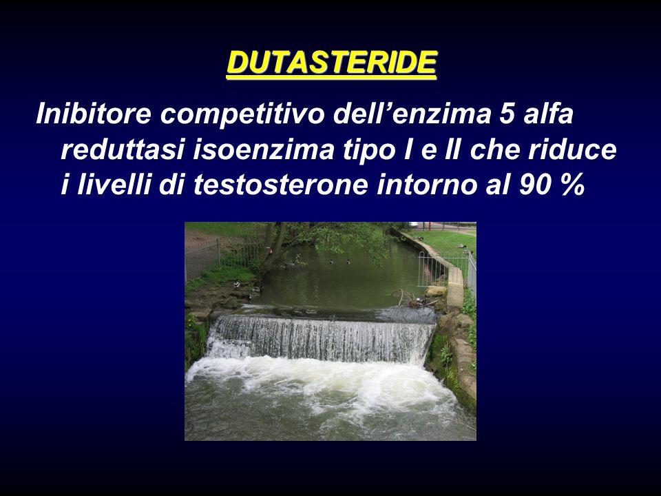 DUTASTERIDE Inibitore competitivo dellenzima 5 alfa reduttasi isoenzima tipo I e II che riduce i livelli di testosterone intorno al 90 %