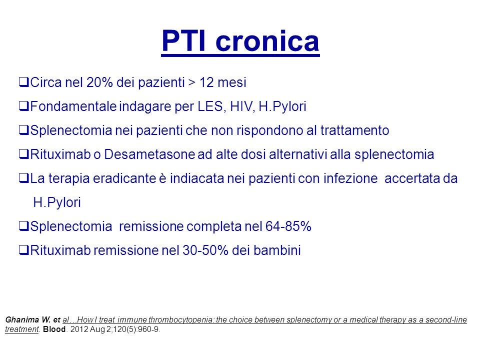 PTI cronica Circa nel 20% dei pazienti > 12 mesi Fondamentale indagare per LES, HIV, H.Pylori Splenectomia nei pazienti che non rispondono al trattame
