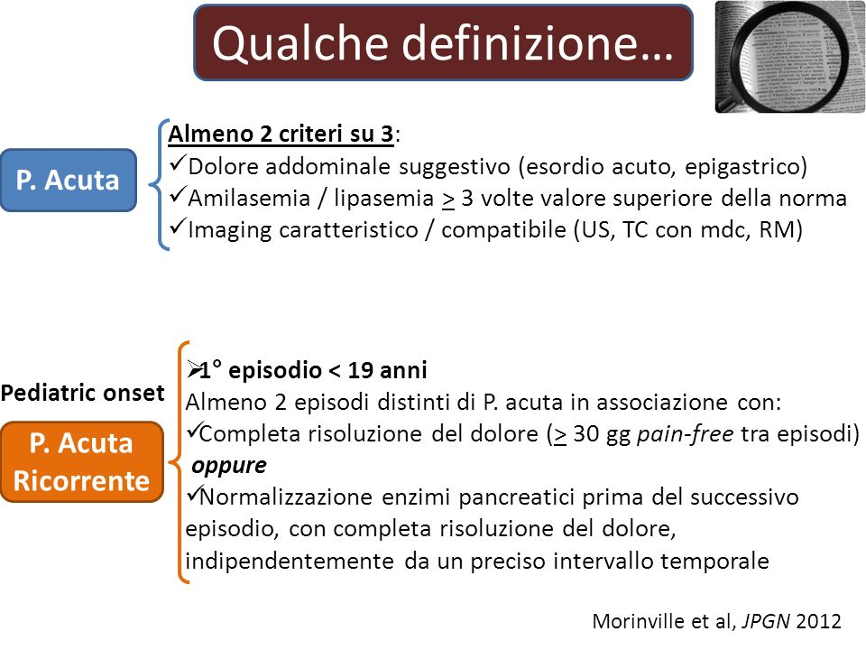 Qualche definizione… Almeno 2 criteri su 3: Dolore addominale suggestivo (esordio acuto, epigastrico) Amilasemia / lipasemia > 3 volte valore superiore della norma Imaging caratteristico / compatibile (US, TC con mdc, RM) P.