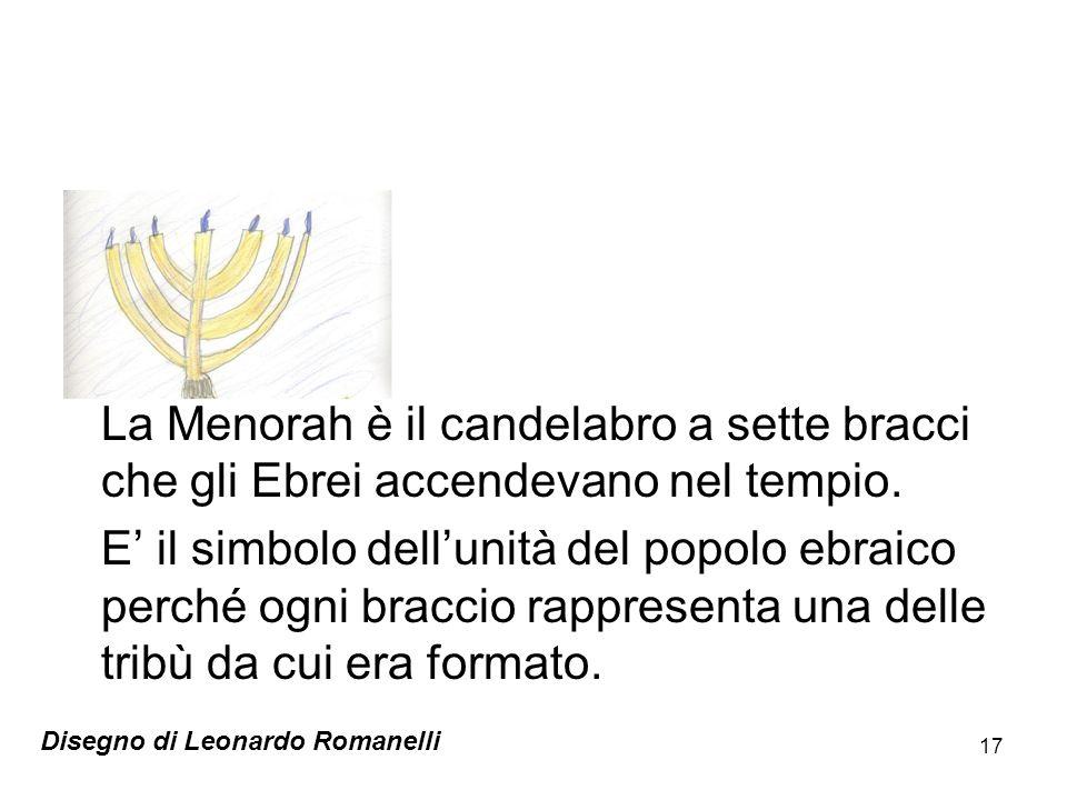 17 La Menorah è il candelabro a sette bracci che gli Ebrei accendevano nel tempio. E il simbolo dellunità del popolo ebraico perché ogni braccio rappr