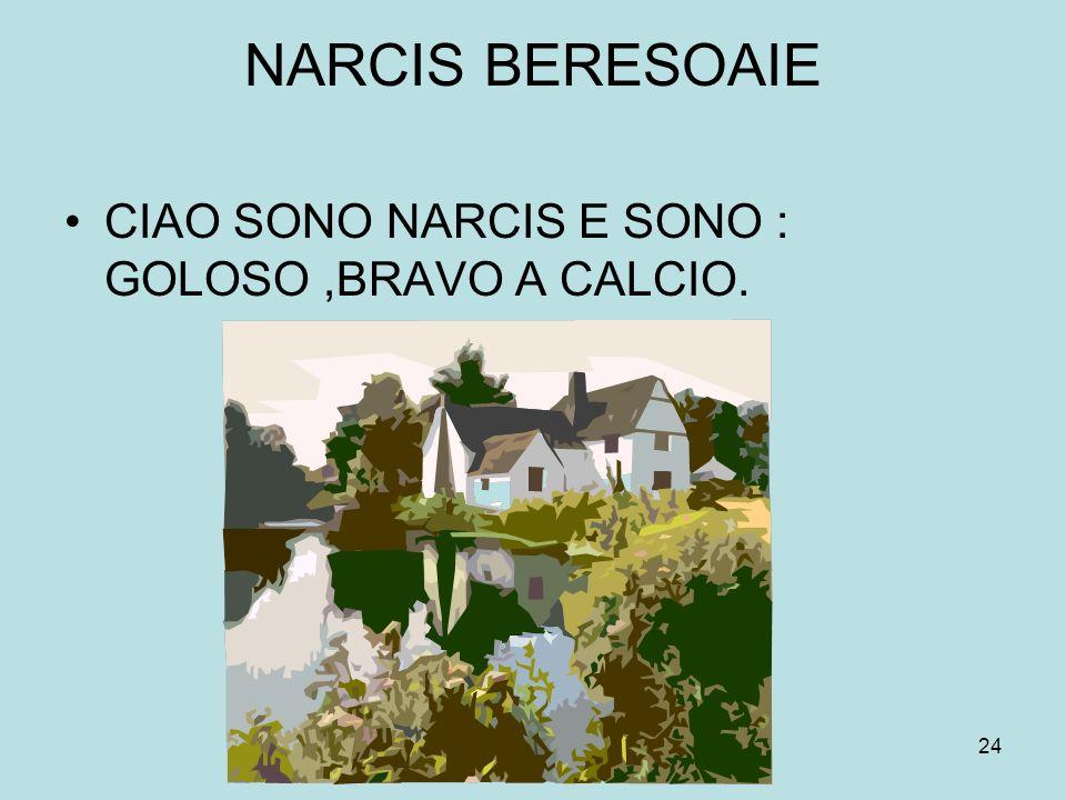24 NARCIS BERESOAIE CIAO SONO NARCIS E SONO : GOLOSO,BRAVO A CALCIO.