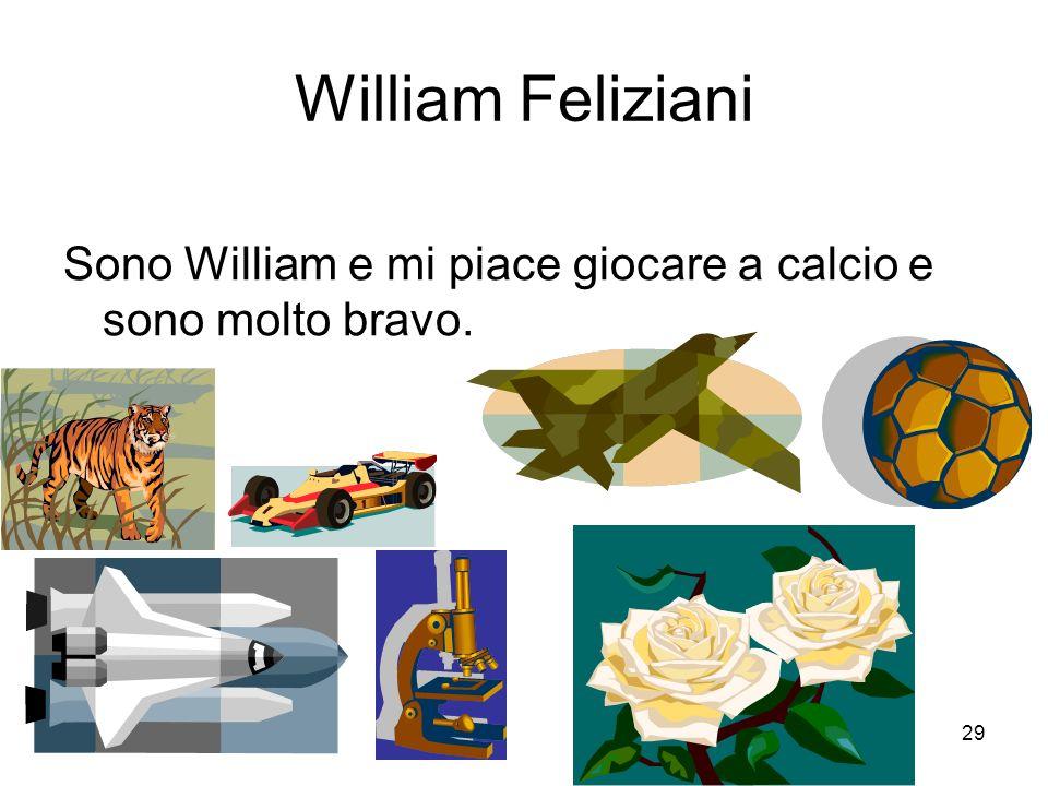 29 William Feliziani Sono William e mi piace giocare a calcio e sono molto bravo.