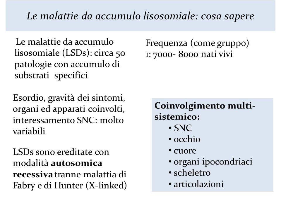 Le malattie da accumulo lisosomiale: cosa sapere Le malattie da accumulo lisosomiale (LSDs): circa 50 patologie con accumulo di substrati specifici Fr