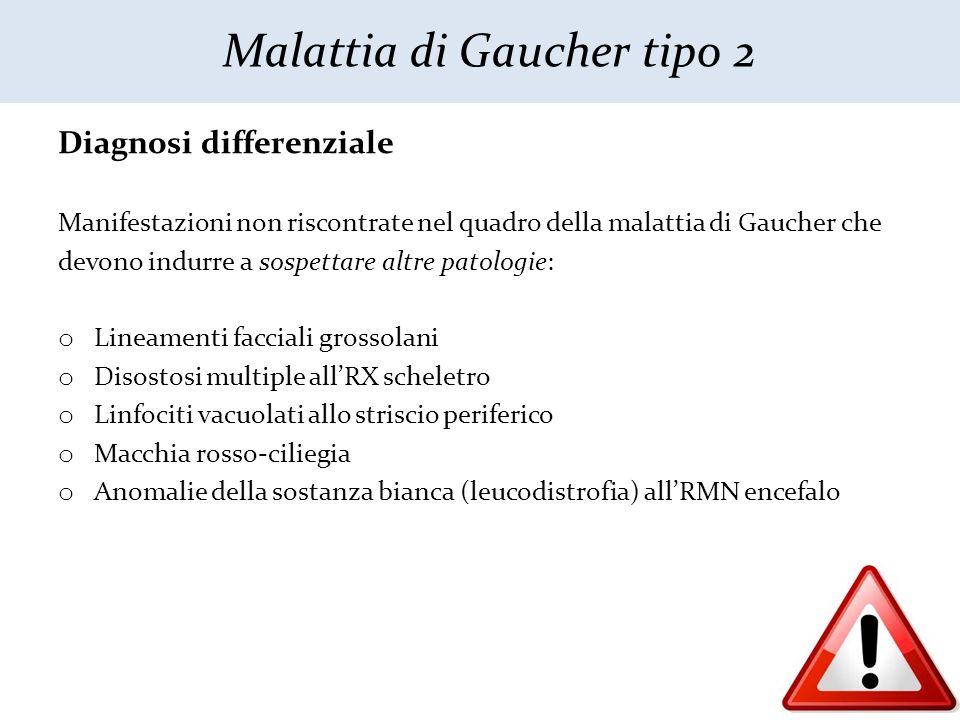 Diagnosi differenziale Manifestazioni non riscontrate nel quadro della malattia di Gaucher che devono indurre a sospettare altre patologie: o Lineamen