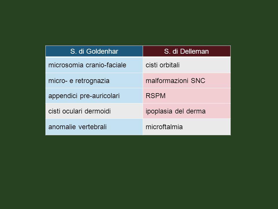 S. di GoldenharS. di Delleman microsomia cranio-facialecisti orbitali micro- e retrognaziamalformazioni SNC appendici pre-auricolariRSPM cisti oculari