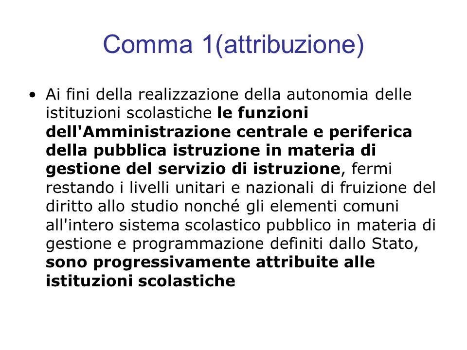 Comma 1(attribuzione) Ai fini della realizzazione della autonomia delle istituzioni scolastiche le funzioni dell'Amministrazione centrale e periferica