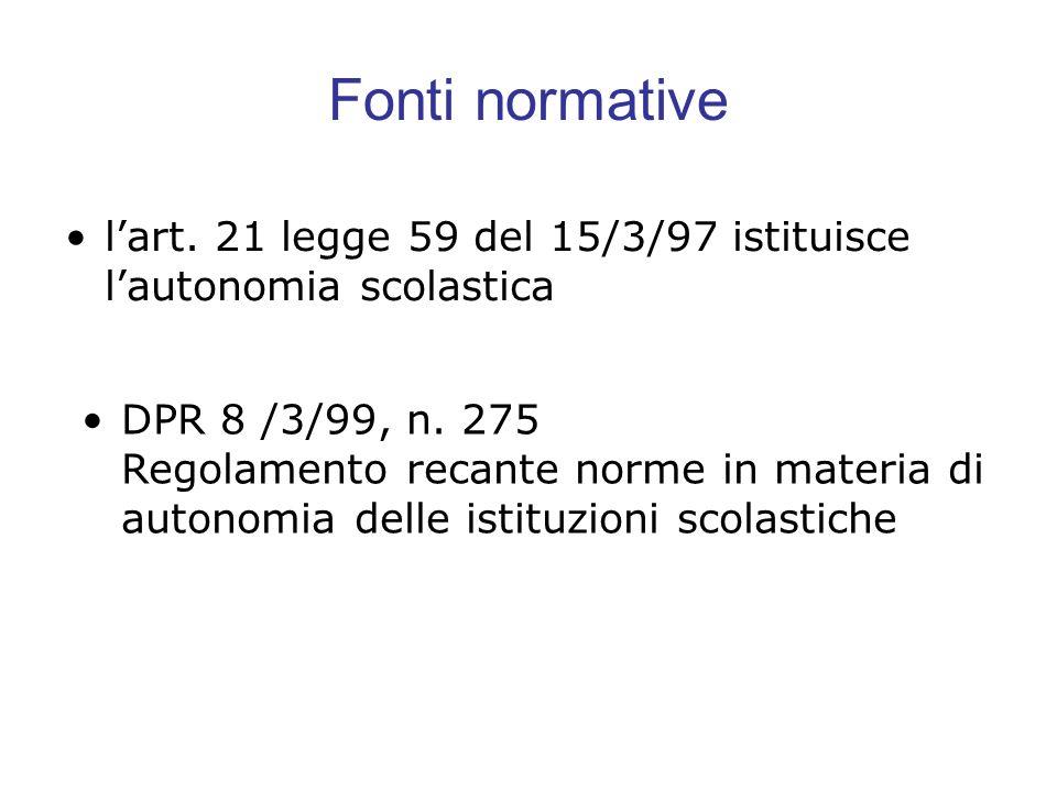 Fonti normative lart. 21 legge 59 del 15/3/97 istituisce lautonomia scolastica DPR 8 /3/99, n. 275 Regolamento recante norme in materia di autonomia d