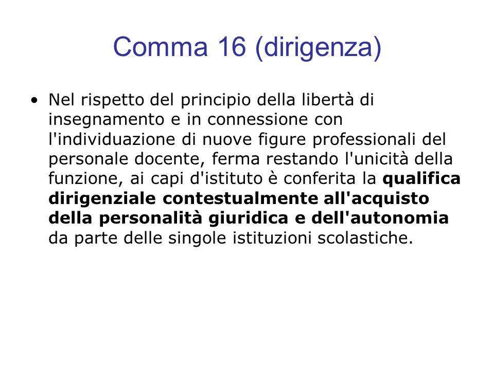 Comma 16 (dirigenza) Nel rispetto del principio della libertà di insegnamento e in connessione con l'individuazione di nuove figure professionali del
