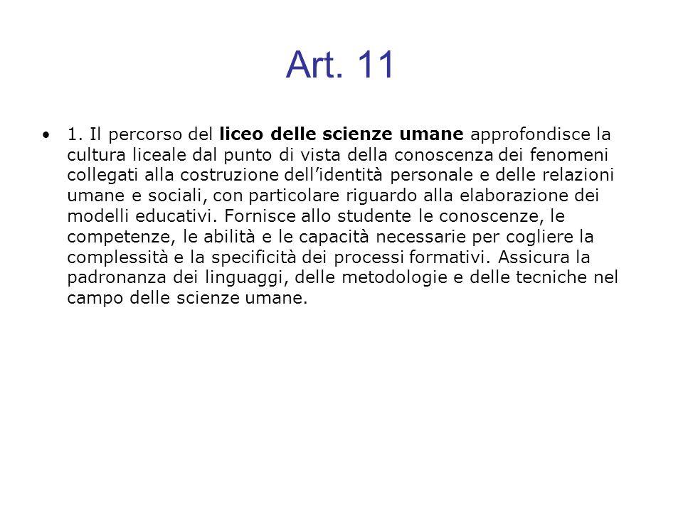 Art. 11 1. Il percorso del liceo delle scienze umane approfondisce la cultura liceale dal punto di vista della conoscenza dei fenomeni collegati alla