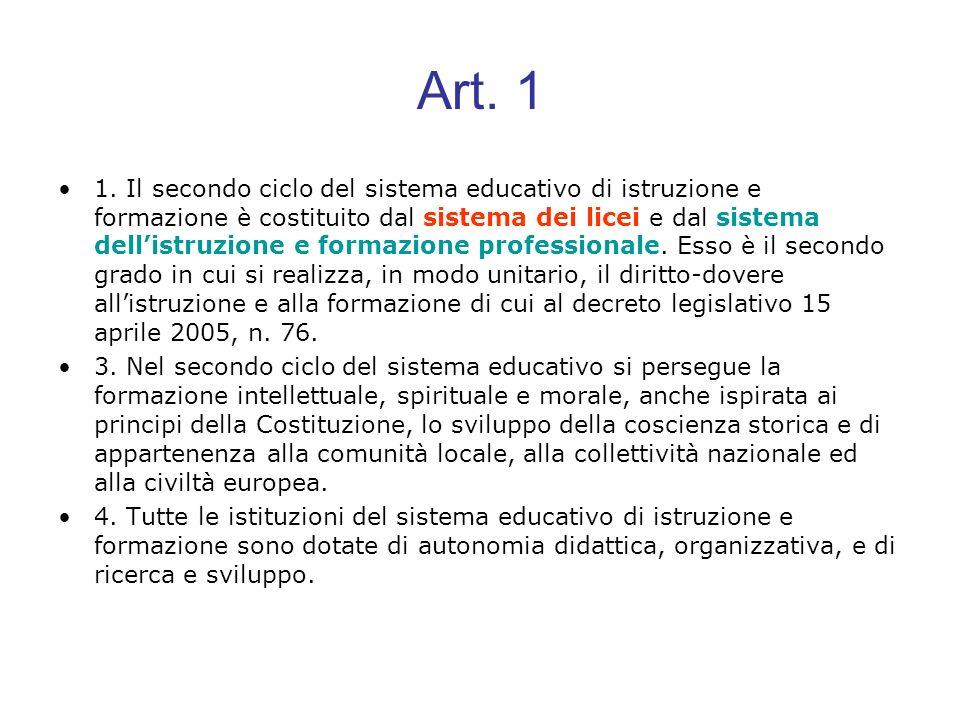 Art. 1 1. Il secondo ciclo del sistema educativo di istruzione e formazione è costituito dal sistema dei licei e dal sistema dellistruzione e formazio