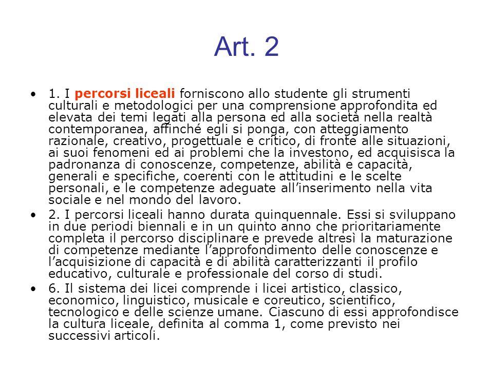 Art. 2 1. I percorsi liceali forniscono allo studente gli strumenti culturali e metodologici per una comprensione approfondita ed elevata dei temi leg