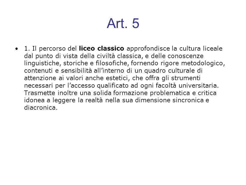 Art. 5 1. Il percorso del liceo classico approfondisce la cultura liceale dal punto di vista della civiltà classica, e delle conoscenze linguistiche,