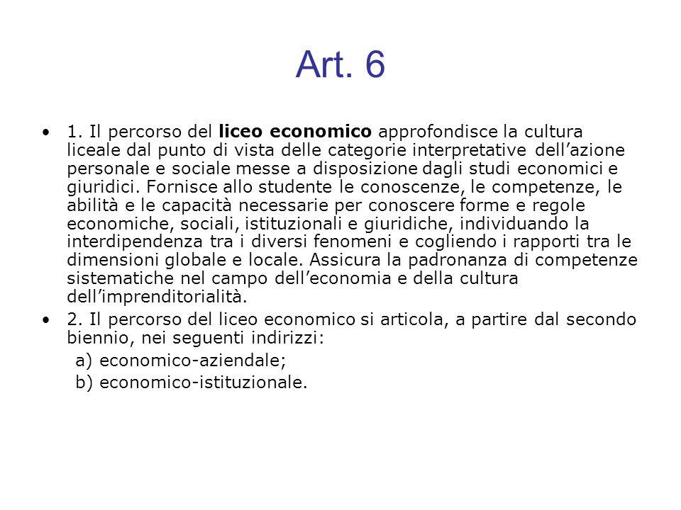 Art. 6 1. Il percorso del liceo economico approfondisce la cultura liceale dal punto di vista delle categorie interpretative dellazione personale e so