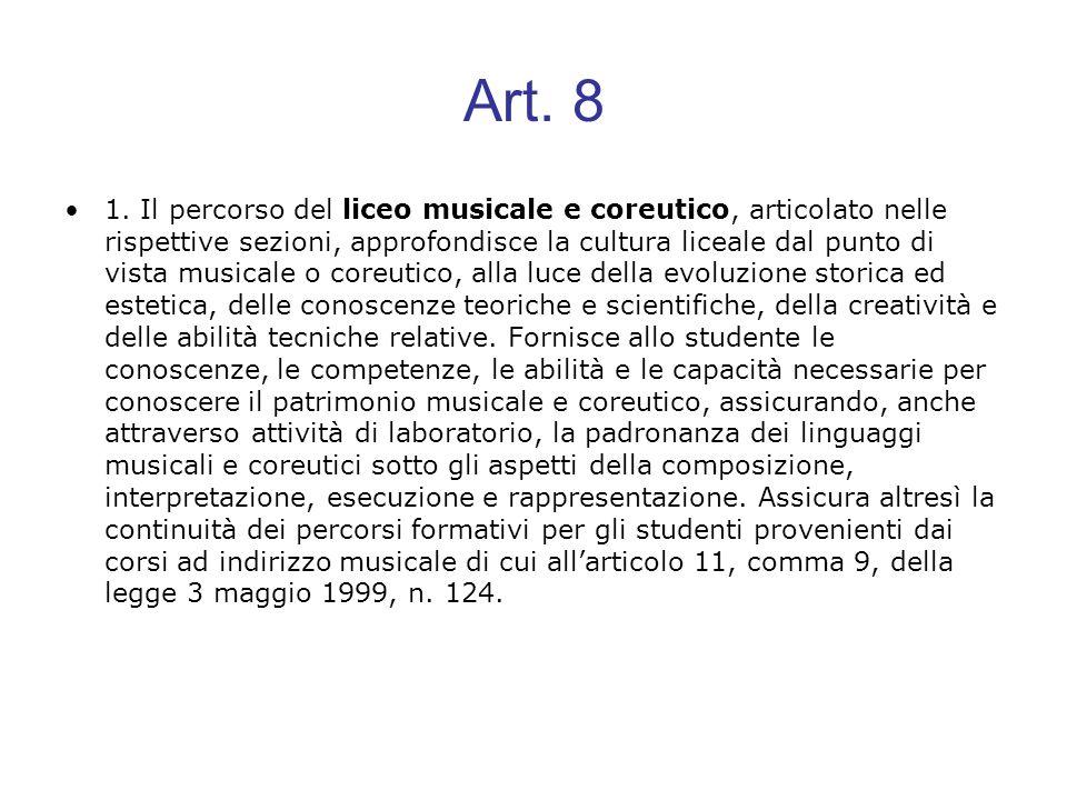Art. 8 1. Il percorso del liceo musicale e coreutico, articolato nelle rispettive sezioni, approfondisce la cultura liceale dal punto di vista musical