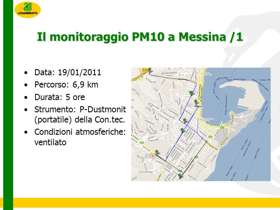 Il monitoraggio PM10 a Messina /1 Data: 19/01/2011 Percorso: 6,9 km Durata: 5 ore Strumento: P-Dustmonit (portatile) della Con.tec.