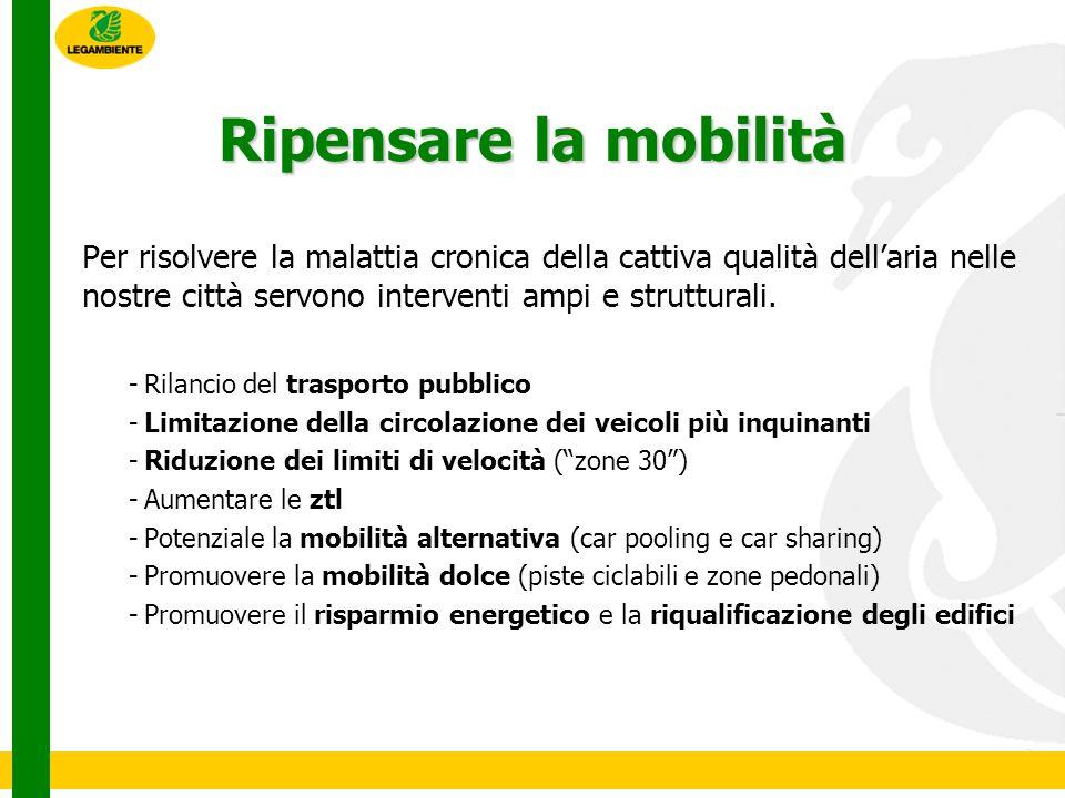 Ripensare la mobilità Per risolvere la malattia cronica della cattiva qualità dellaria nelle nostre città servono interventi ampi e strutturali.