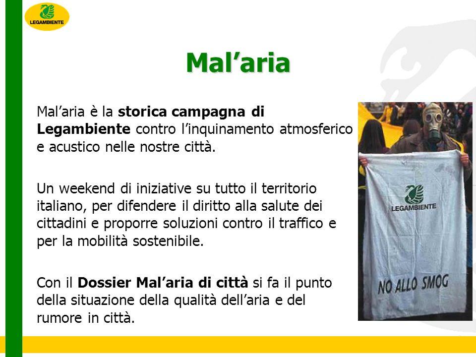 Dossier Malaria di città 2011 LItalia è il secondo paese in Europa dove si respira laria peggiore Confermata la scarsa qualità dellaria in città, soprattutto a causa di PM10 e Biossido di Azoto Confermata la responsabilità del traffico veicolare come principale fonte di inquinamento atmosferico e acustico La Commissione Europea ha deferito lItalia alla Corte di Giustizia per il non rispetto dei limiti di PM10.