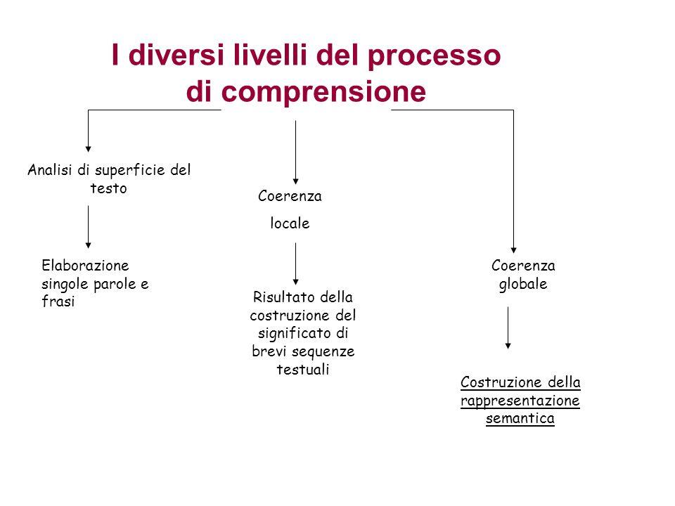 I diversi livelli del processo di comprensione Analisi di superficie del testo Elaborazione singole parole e frasi Coerenza locale Risultato della costruzione del significato di brevi sequenze testuali Coerenza globale Costruzione della rappresentazione semantica